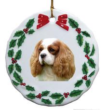 Cavalier King Charles Porcelain Holly Wreath Christmas Ornament