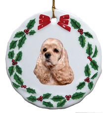 Cocker Spaniel Porcelain Holly Wreath Christmas Ornament