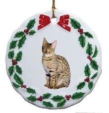 Savannah Porcelain Holly Wreath Christmas Ornament