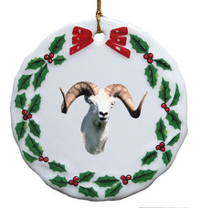 Big Horned Sheep Porcelain Holly Wreath Christmas Ornament
