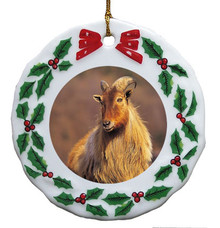 Mountain Goat Porcelain Holly Wreath Christmas Ornament