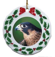 Falcon Porcelain Holly Wreath Christmas Ornament