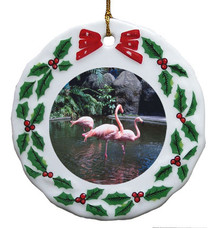 Flamingo Porcelain Holly Wreath Christmas Ornament