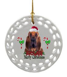 Bloodhound Porcelain Christmas Ornament