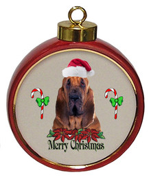 Bloodhound Ceramic Red Drum Christmas Ornament