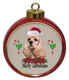 Cocker Spaniel Ceramic Red Drum Christmas Ornament
