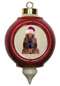 Bloodhound Victorian Red & Gold Christmas Ornament