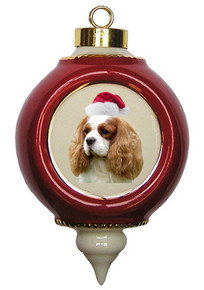 Cavalier King Charles Victorian Red & Gold Christmas Ornament