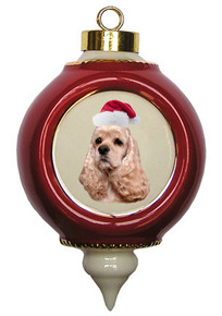 Cocker Spaniel Victorian Red & Gold Christmas Ornament