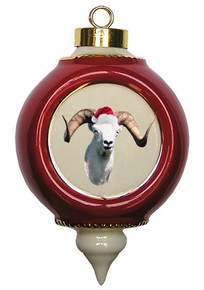 Big Horned Sheep Victorian Red & Gold Christmas Ornament
