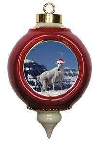 Mountain Goat Victorian Red & Gold Christmas Ornament