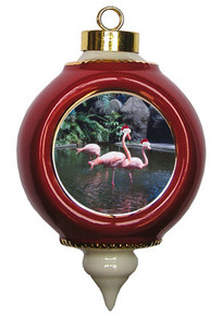 Flamingo Victorian Red & Gold Christmas Ornament