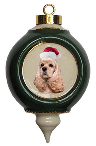 Cocker Spaniel Victorian Green & Gold Christmas Ornament