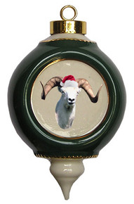 Big Horned Sheep Victorian Green & Gold Christmas Ornament