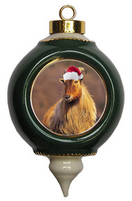Mountain Goat Victorian Green & Gold Christmas Ornament