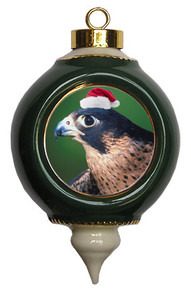 Falcon Victorian Green & Gold Christmas Ornament
