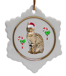 Savannah Ceramic Jolly Santa Snowflake Christmas Ornament