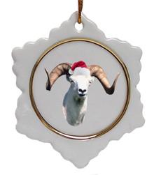 Big Horned Sheep Ceramic Jolly Santa Snowflake Christmas Ornament