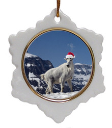 Mountain Goat Ceramic Jolly Santa Snowflake Christmas Ornament