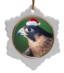 Falcon Ceramic Jolly Santa Snowflake Christmas Ornament