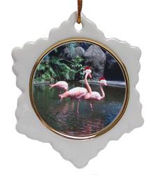 Flamingo Ceramic Jolly Santa Snowflake Christmas Ornament