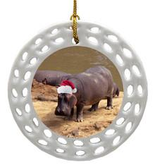 Hippo Porcelain Christmas Ornament