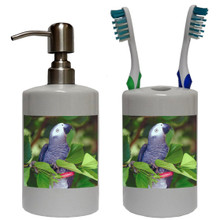 African Grey Parrot Bathroom Set