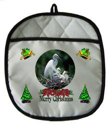 Egret Christmas Pot Holder