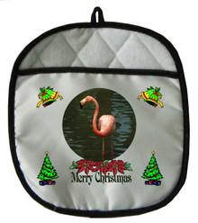 Flamingo Christmas Pot Holder