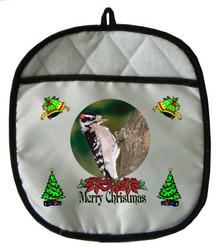 Downey Woodpecker Christmas Pot Holder