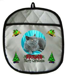 British Shorthair Cat Christmas Pot Holder