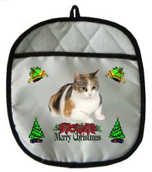 Calico Cat Christmas Pot Holder
