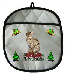 Savannah Cat Christmas Pot Holder