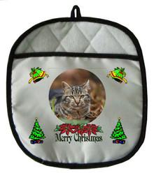 Tabby Cat Christmas Pot Holder