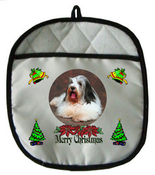 Bearded Collie Christmas Pot Holder