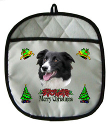 Border Collie Christmas Pot Holder