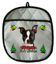 Boston Terrier Christmas Pot Holder
