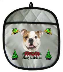 Bulldog Christmas Pot Holder