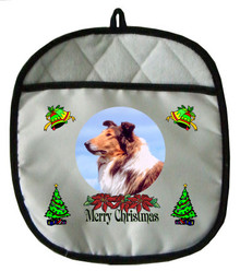 Collie Christmas Pot Holder