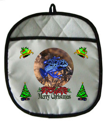 Blue Frog Christmas Pot Holder