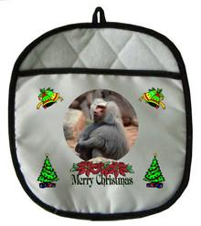 Baboon Christmas Pot Holder