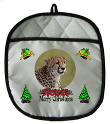Cheetah Christmas Pot Holder