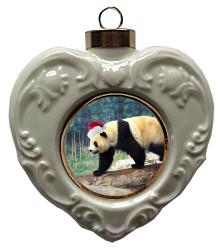 Panda Bear Heart Christmas Ornament