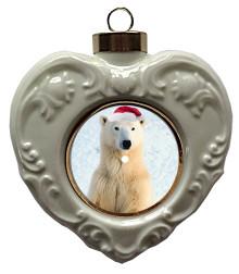 Polar Bear Heart Christmas Ornament