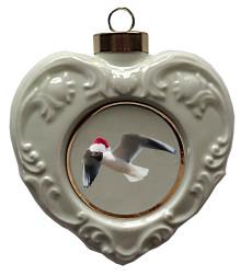 Black Headed Gull Heart Christmas Ornament