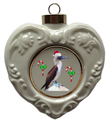 Blue Footed Booby Heart Christmas Ornament