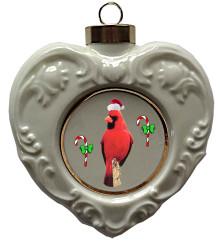 Cardinal Heart Christmas Ornament