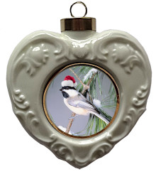 Chickadee Heart Christmas Ornament