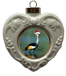 Crowned Crane Heart Christmas Ornament