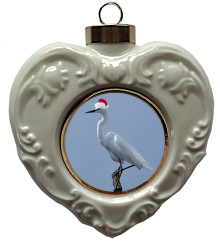 Egret Heart Christmas Ornament